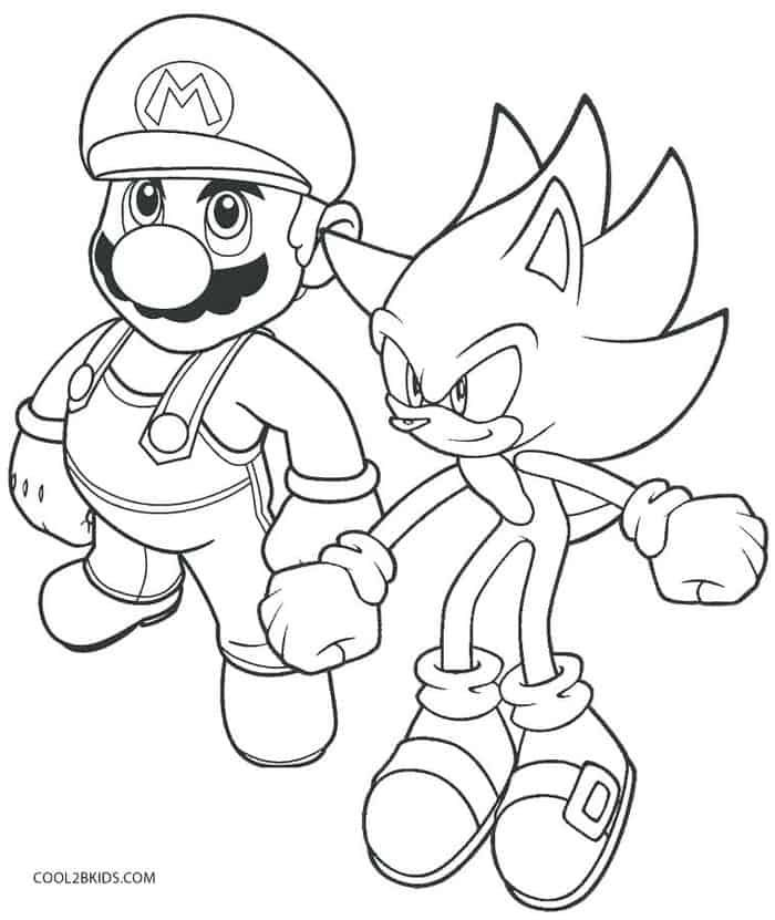 Mario And Sonic Coloring Pages 2 In 2020 Super Mario Coloring
