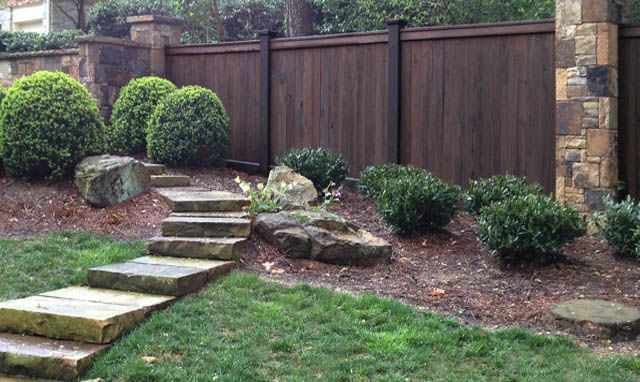 Stained Cypress And Pt Wood Fence Outside Pinterest