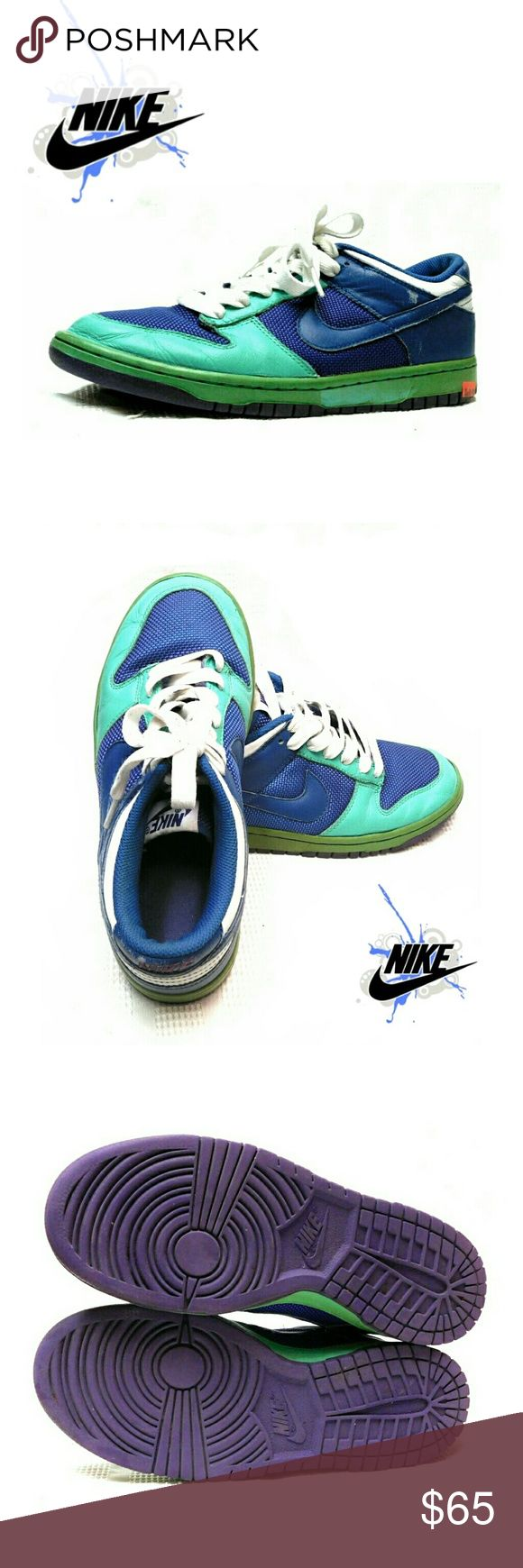 NIKE DUNK LOW AZURE/ATL BLUE -COURT PURPLE SNKERS NIKE DUNK LOW AZURE/ ATLANTIC BLUE - COURT PURPLE SNEAKERS Style # 309324-441 SZ 9 1/2 NO Rips or Tears.  Pls See All Pics. Ask ? If Needed Nike Shoes Sneakers