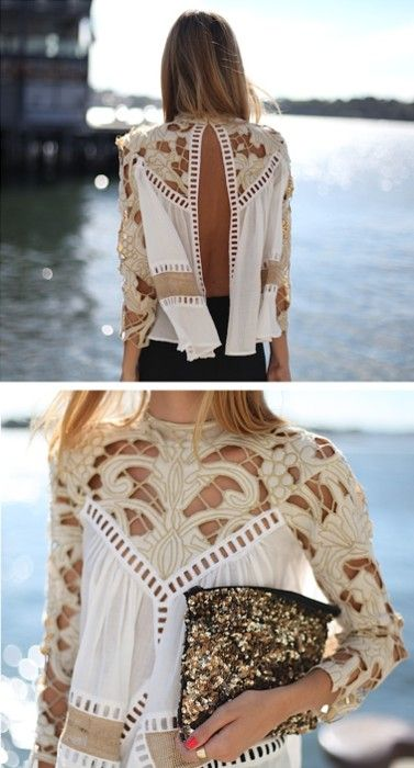 LOVE the details!! #crochet #openback #top #shirt #blouse #summer #cutouts #sheer #outfit #ensemble #effortless #weekend #casual #chic #style #fashion #sequin #clutch #simple #modern #look