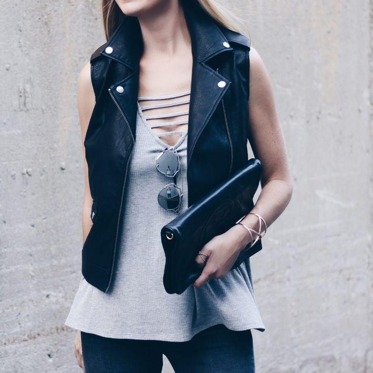 nordstrom sale black leather vest ($60), tank ($19) and top shop gray skinny jeans