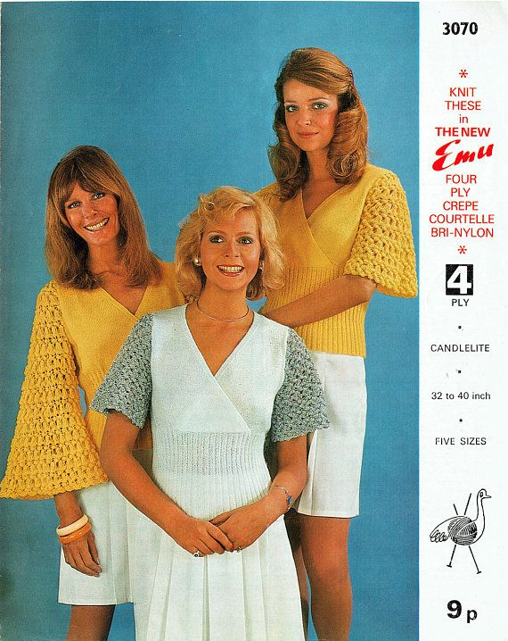 PDF Vintage 1970s Womens  Ladies Knitting Pattern Angel Sleeve