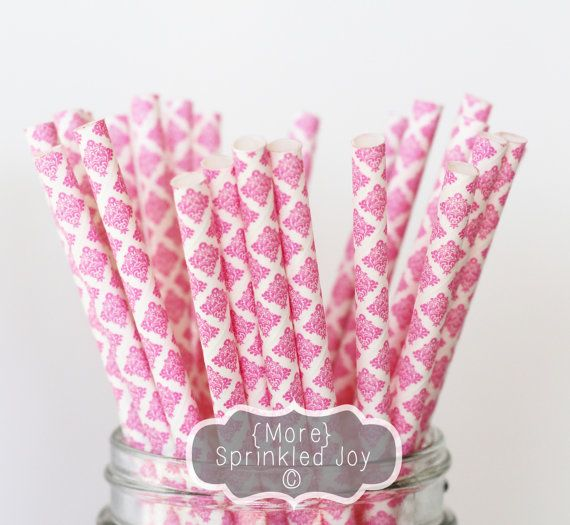 PINK Damast-Papier-Strohhalme Multipack Rosa von MoreSprinkledJoy