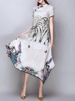Vintage Short Sleeve Linen Floral Midi Dress
