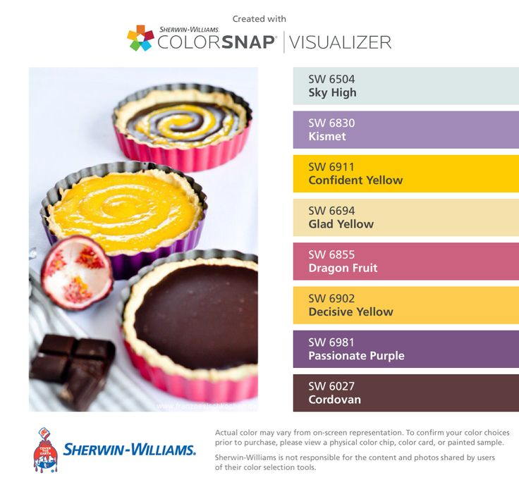 I found these colors with ColorSnap® Visualizer for iPhone by Sherwin-Williams: Sky High (SW 6504), Kismet (SW 6830), Confident Yellow (SW 6911), Glad Yellow (SW 6694), Dragon Fruit (SW 6855), Decisive Yellow (SW 6902), Passionate Purple (SW 6981), Cordovan (SW 6027).