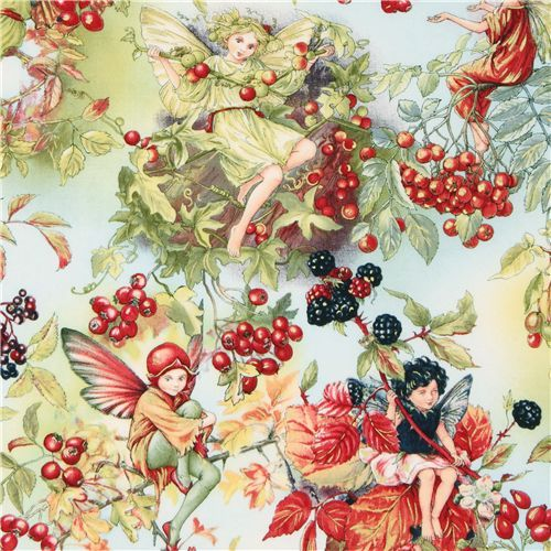 Michael Miller fabric Autumn Fairies berry fairy  cute light blue fabric with fairies and many berries from the USA