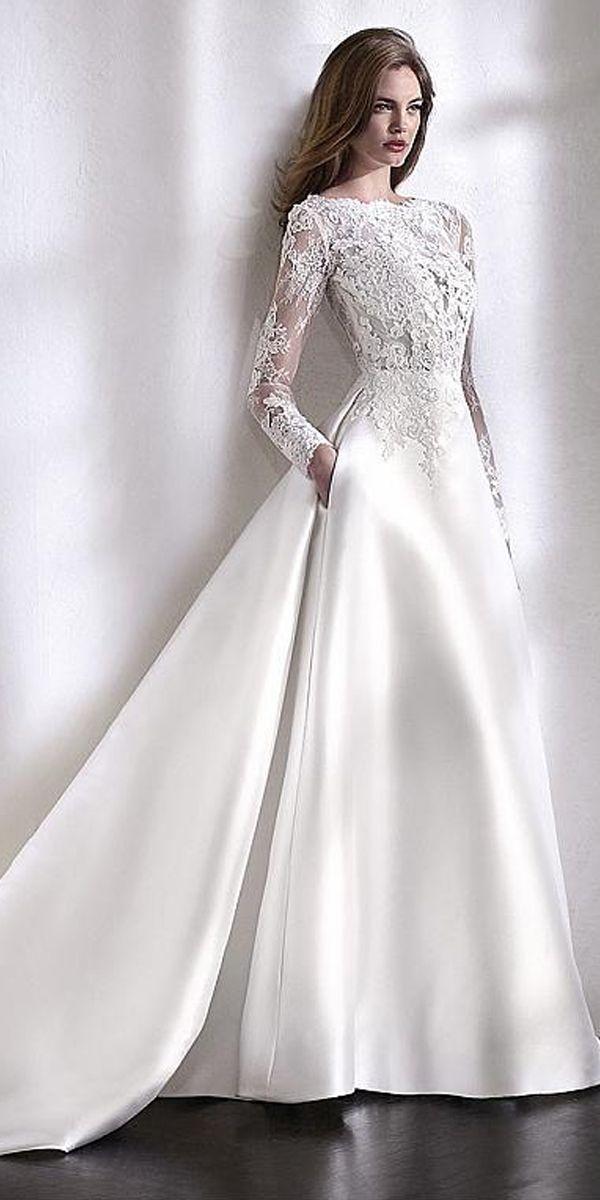 Elegant Tulle & Satin Bateau Neckline A-Line Wedding Dress With Lace Appliques & Beadings & Pockets – Melinda Clark