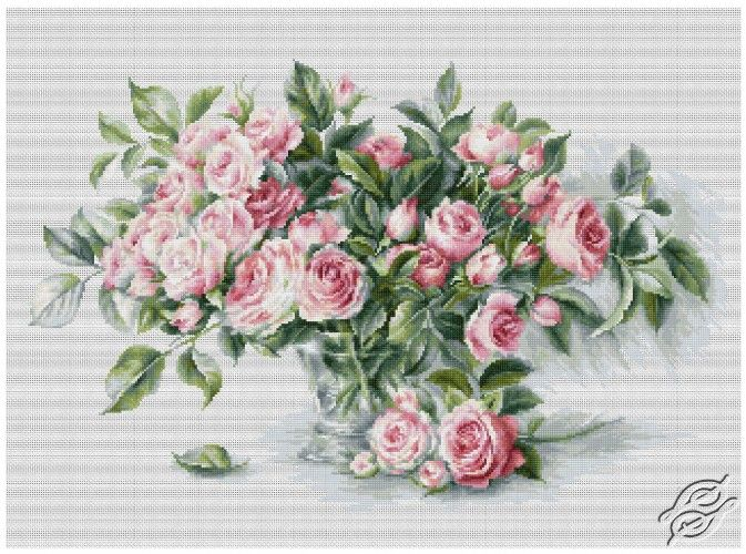 Bouquet of Pink Roses - Cross Stitch Kits by Luca-S - B2286