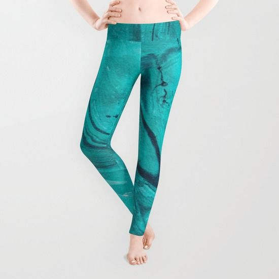 Watercolors teal Leggings  #watercolors, #teal, #turquoise, #painting, #acrylic, #leggings,