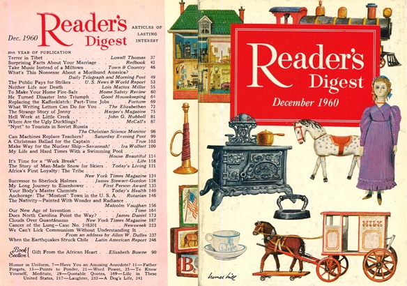 """digestart:    Reader's Digest front and back cover, December 1960  Illustration: """"Toys of Yesteryear"""" byHomer Hill"""