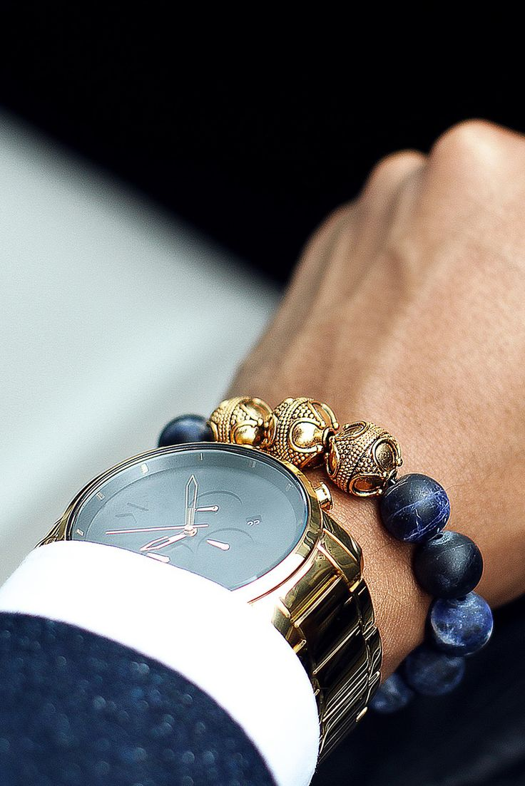 Custom made luxury bracelets from Aurum Brothers Premium Gold Matte Sodalite - $249 Shop Here