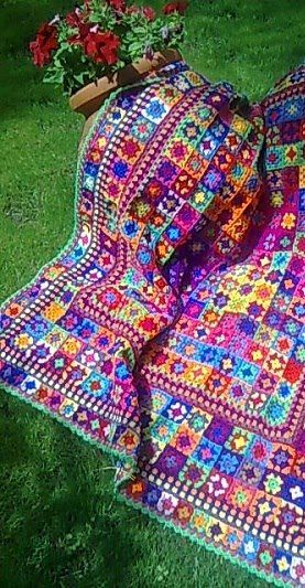 Crochet afghan color inspiration. Uses granny squares. Pic only.