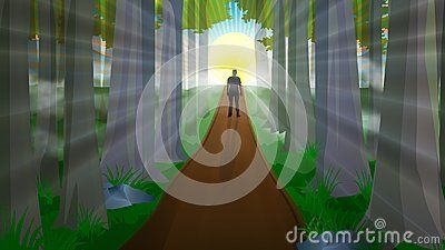 Beautiful nature, magic, fantasy enchanted forest with green trees, mist, fog, man silhouette walking on a path up a hill towards the sunrise, big yellow sun and sun rays, on blue sky. Symbol for freedom and success, bright future ahead, nature beauty landscape vector illustration.