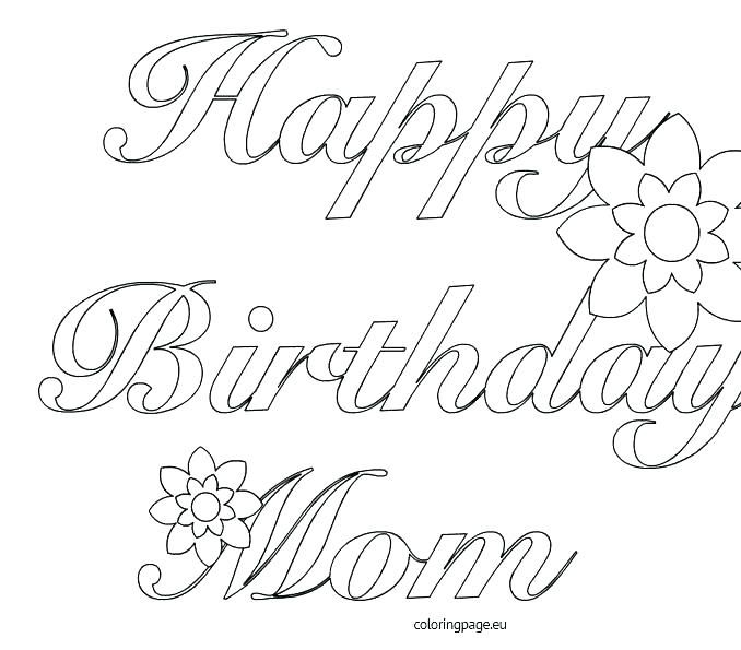 Coloring Pages Of Happy Birthday Happy Birthday Mom Coloring Pages