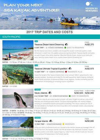 SSV 2017 Sea Kayak Trips Summary Cover