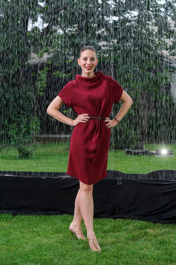 Eli Roman wearing http://shop.laurahincu.ro/product/office/bordeaux-silk-crepe-essential-dress/