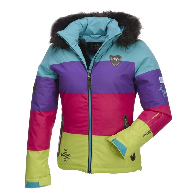 ilpi, Eufana down ski jacket, women, short model, turquoise-purple-pink-green Down ski jacket with faux fur collar You will stay warm in this ski jacket. This Kilpi ski jacket is filled with down and has a breathing membrane. You will stay comfortable warm when you are on the slopes. The Eufauna jacket is a striking combination because of the colours and the faux fur collar. This is the sportive fashion ski jacket for ladies who like to stay warm.