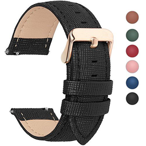 6 Colors for Quick Release Leather Watch Band, Fullmosa Cross Genuine Leather Replacement Watch Strap with Stainless Metal Clasp 22mm Black #Pebble Watch