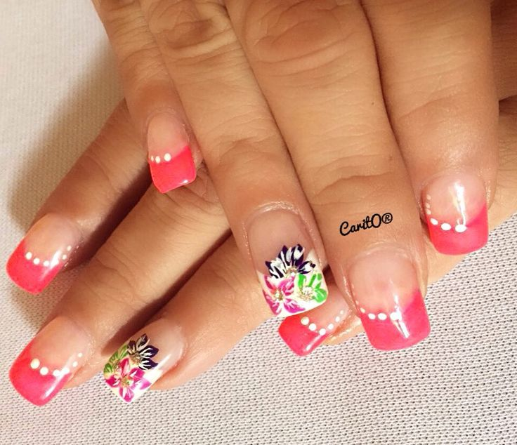 French nails design pink nails flower nails