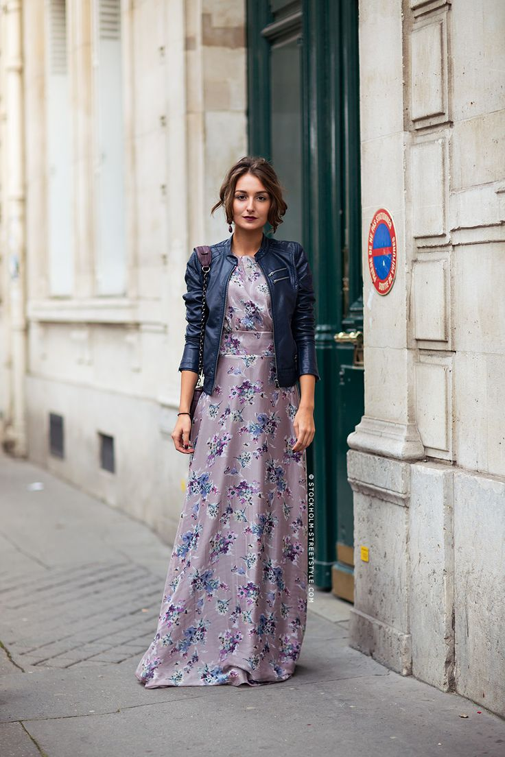 floral maxi + leather jacket