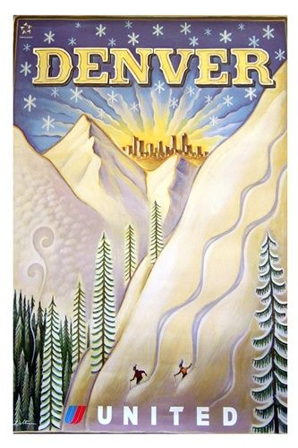 vintage Colorado travel poster ~ United Airlines