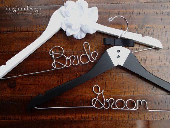 HOLIDAY SALE SET Bride and Groom Hangers-Tuxedo Hanger, Hanger with Flower -Engagement Gift, Shower Gift, Bride Hanger,Bridal Hanger