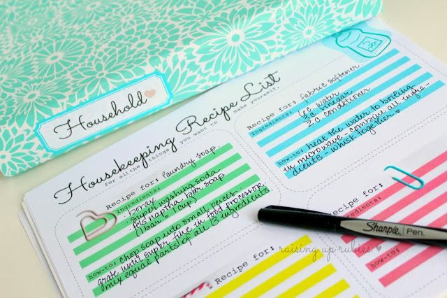 Raising up Rubies: ten things for thursday ... housekeeping style ♥ and a printable housekeeping recipe list