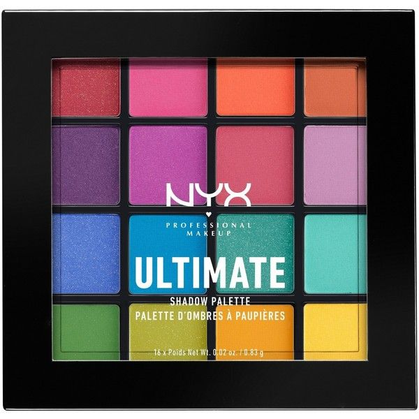 Nyx Professional Makeup Ultimate Shadow Palette Brights . oz ($18) ❤ liked on Polyvore featuring beauty products, makeup, eye makeup, eyeshadow, nyx eyeshadow, nyx, palette eyeshadow and nyx eye shadow