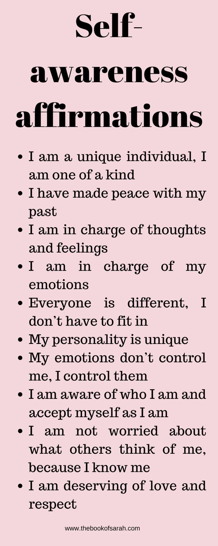 Daily Affirmations To Help You Through Tough Times The Book Of Sarah Self Awareness Quotes Self Esteem Affirmations Positive Self Affirmations