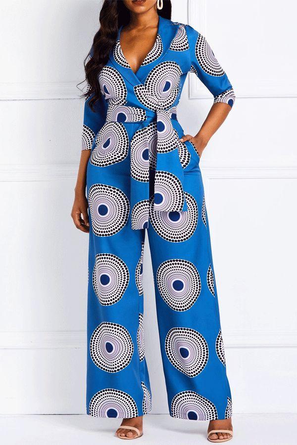 Geometric Print Pockets Notched Lapel Women's Jumpsuits.#Jumpsuits#Women&#39... 15
