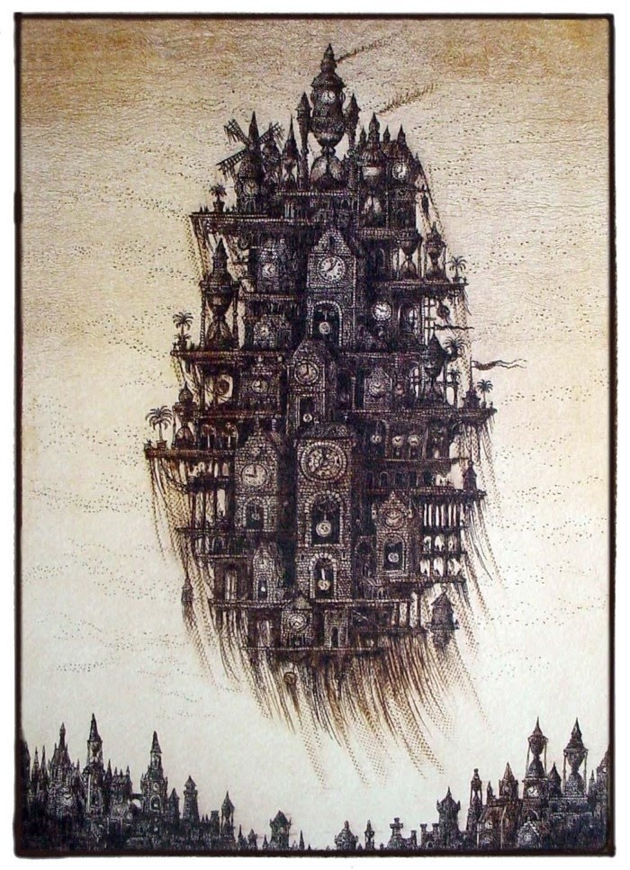 Etchings of Floating Cities by Sergey Tyukanov