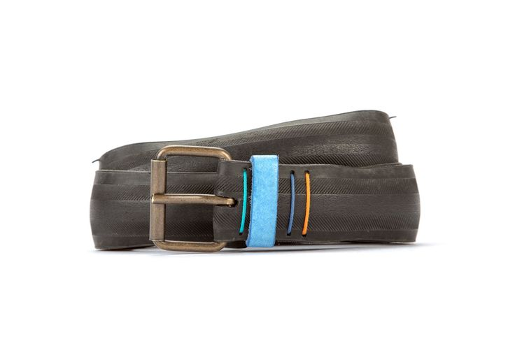 #2949 - Black belt from a spare race bicycle tyre, entirely handcrafted, iron branded and numbered. Light blue, leather belt loop. Strap folded up and stitched up with cotton colored strings.