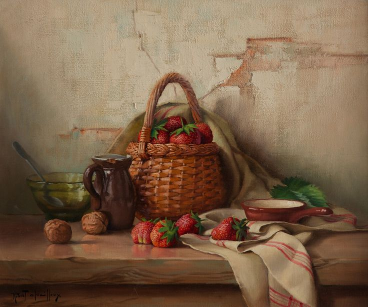 A Basket of Strawberries by Robert Chailloux (£6,950) | Gladwell & Patterson