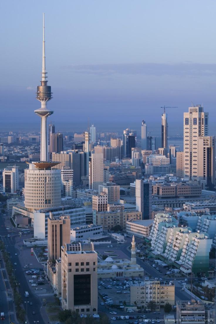 Kuwait, Kuwait City, Aerial over Hilalli Street towards Liberation Tower