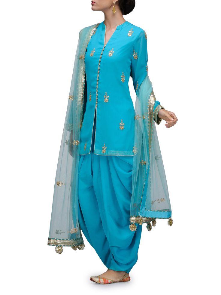 CITA 9 BY RITU & DIVVYA Turquoise Dhoti Salwar Suit