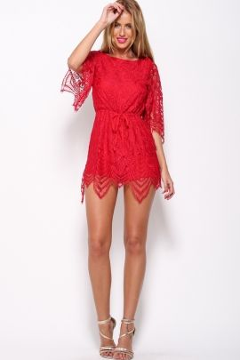 Edge Of The Evening Playsuit Red $69.00