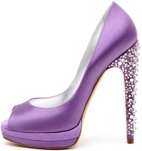 Peep toe in raso e suede viola con tacco gioiello e triplo plateau