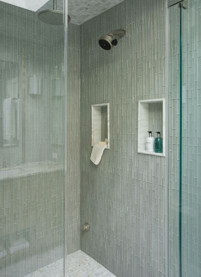 Cream Pencil Stone Mosaic Tile | Showers, Shower pan and ...
