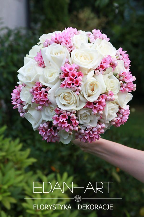 Round Wedding Bouquet Showcasing: White Roses + Pink Bouvardia