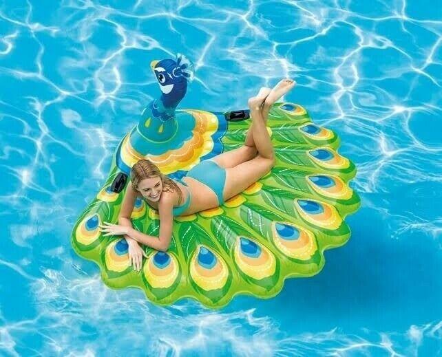 Intex Aufblasbarer Pfau Xl Luftmatratze Schwimminsel Bunt Badetier Fur Kinder In 2020 Schwimmbad Spielzeug Luftmatratze Badetiere