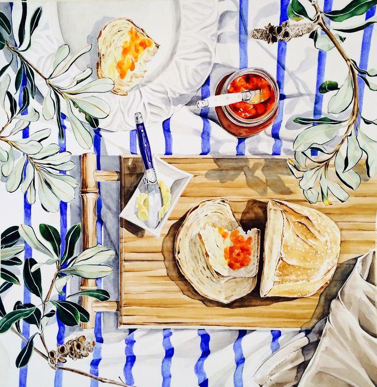 'Bread & Jam' - watercolour on Arches paper by Pip Spiro #banksia #Australian #blueandwhite