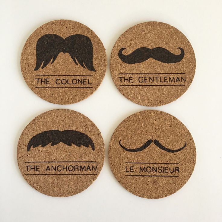 The Colonel, The Gentleman, The Anchorman, and Le Monsieur Moustaches set of 4 cork coasters by HuckleberryHaven on Etsy https://www.etsy.com/ca/listing/265593532/the-colonel-the-gentleman-the-anchorman