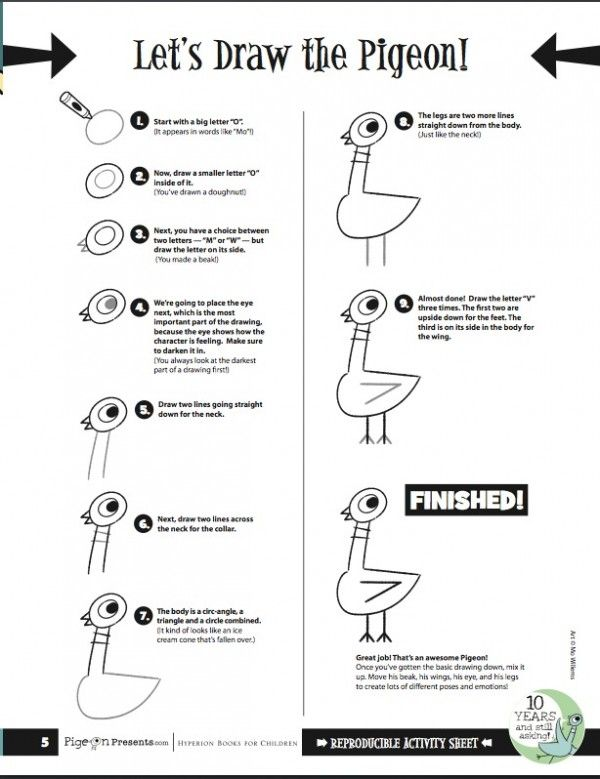 Easy instructions: How to DRAW the Pigeon from Mo Willems book series. #ThePigeonParty Don't let the Pigeon drive the bus by Mo Willems, and his new book The Pigeon Needs a Bath