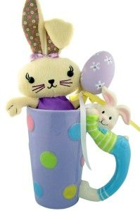 Easter Basket Girlfriend Unique Easter Gift Plush Rabbit in Bunny Handle 14oz Hot Cold Drink Hand Painted Pastel Polka Dot Ceramic Mug