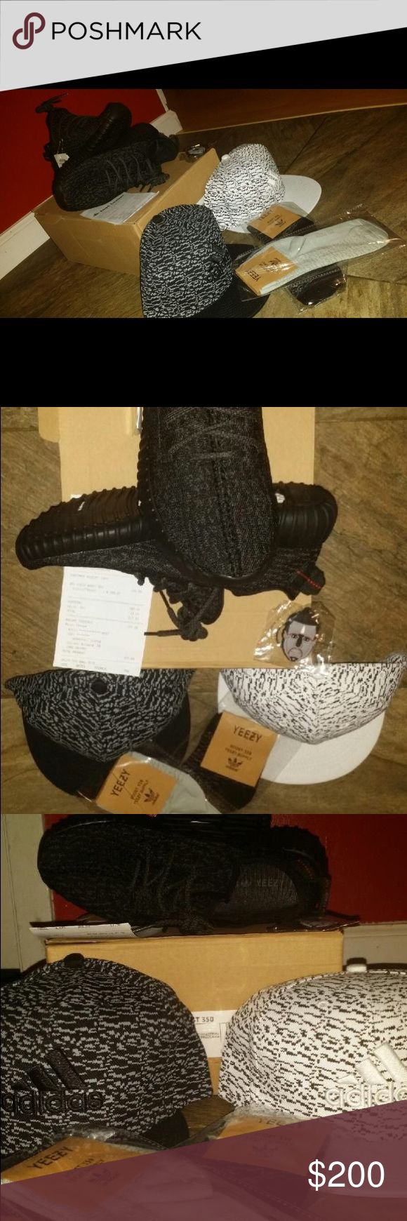 Adidas Yeezy Boost 350 Pirate Black Sz 7-8 Bundle! Brand new never worn. Box is perfect, receipt comes with it. One pair of socks and one hat is included. Everything is original. Message me to confirm! If your price doesn't fit your range I'm willing to negotiate EVERYTHING YOU SEE IN THE PHOTO YOU WILL ALSO GET PLUS THE YEEZYS! Adidas Shoes Sneakers