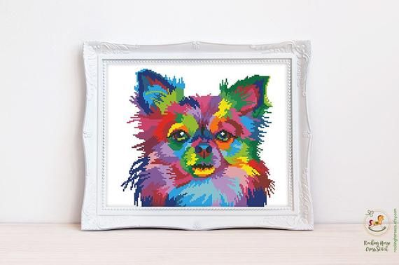 Colorful Chihuahua Cross Stitch Pattern Rainbow Dog Cross Stitch