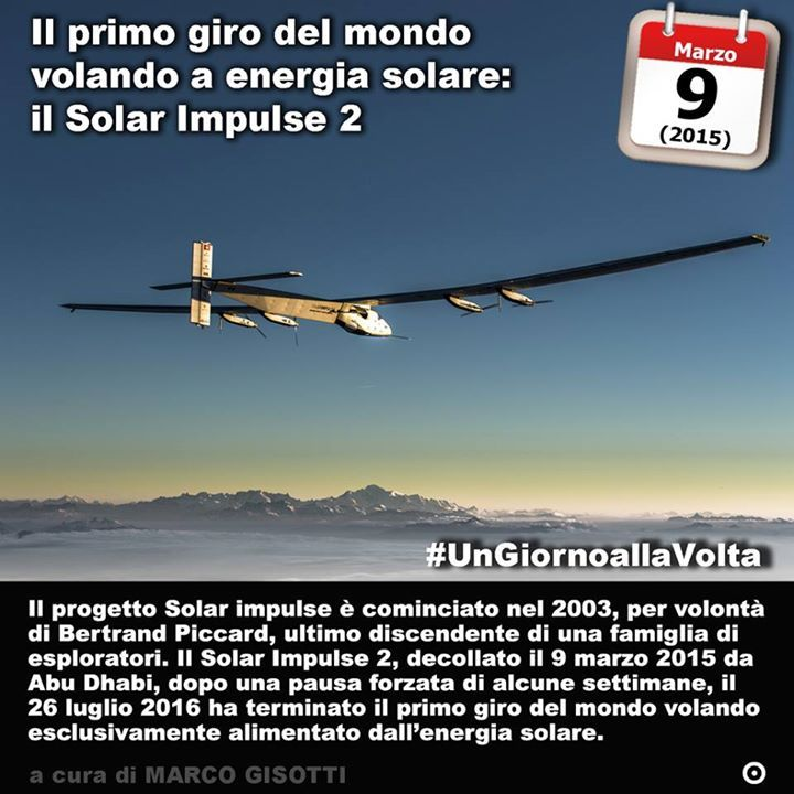 Immaginate un aereo che possa volare solo con lenergia del Sole. Fatto. Si chiamava Solar Impulse. Immaginatene un secondo che si proponga di fare il giro del mondo contando solo sullenergia del Sole. Il 9 marzo del 2015 decollava così da Abu Dhabi il Solar Impulse 2 il secondo prototipo di aereo completamente a energia solare. Un giro del mondo con scopi scientifici e dimostrativi che si è concluso il 26 luglio 2016 dopo un fermo forzato di alcune settimane. Il progetto Solar impulse è però…
