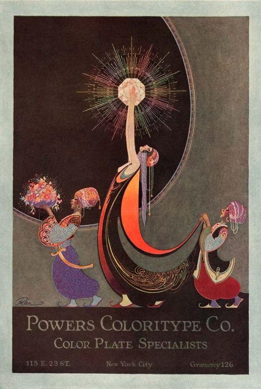 artdecoblog:    Fred Packer, Powers Coloritype Co. Ad, 1920s