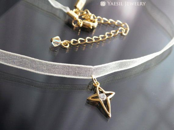 Sheer Ribbon Choker Cross Choker Cream Ribbon by YaesilJewelry