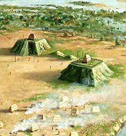 Mississippi mound builders - image of what the mounds - and the nearby villages - would have looked like.